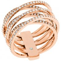 Femmes Michael Kors PVD rose plating Statement Crossover Bague Taille O